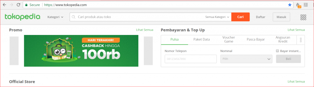 dashboard tokopedia